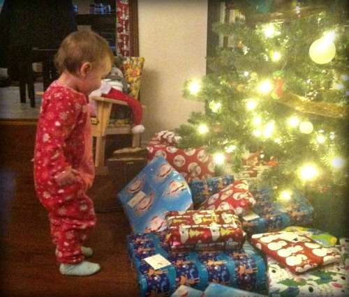 toddler christmas morning, toddler at christmas tree, parenting, family,