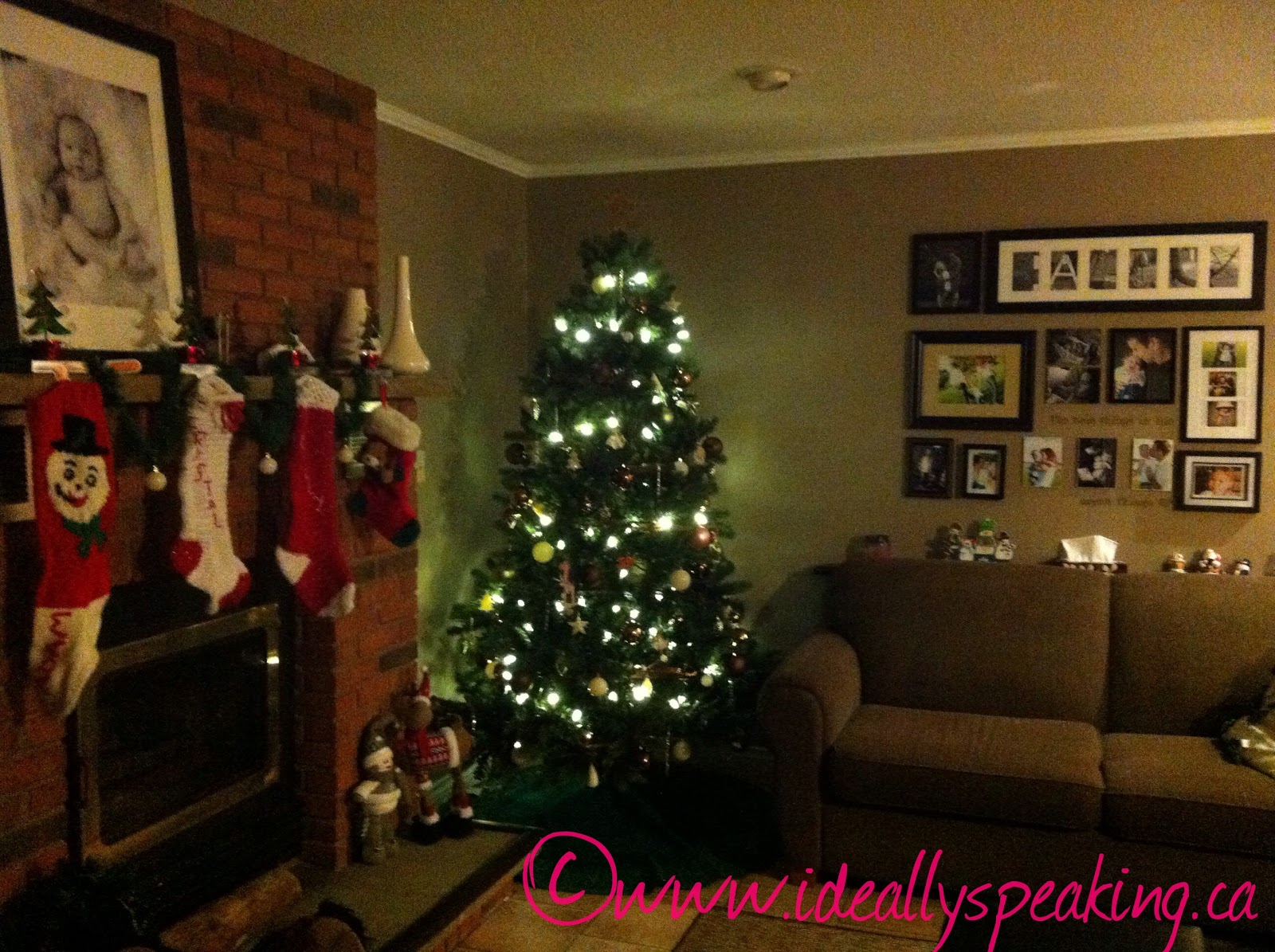 Christmas Tree, Fireplace, gallery wall, stockings on fireplace, parenting, family