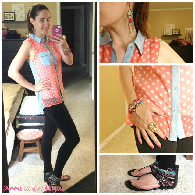 Coral hi-low sleeveless top with leggings - Great look for summer.