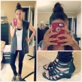Long tank, leggings, heels & high bun. Super easy chic look.