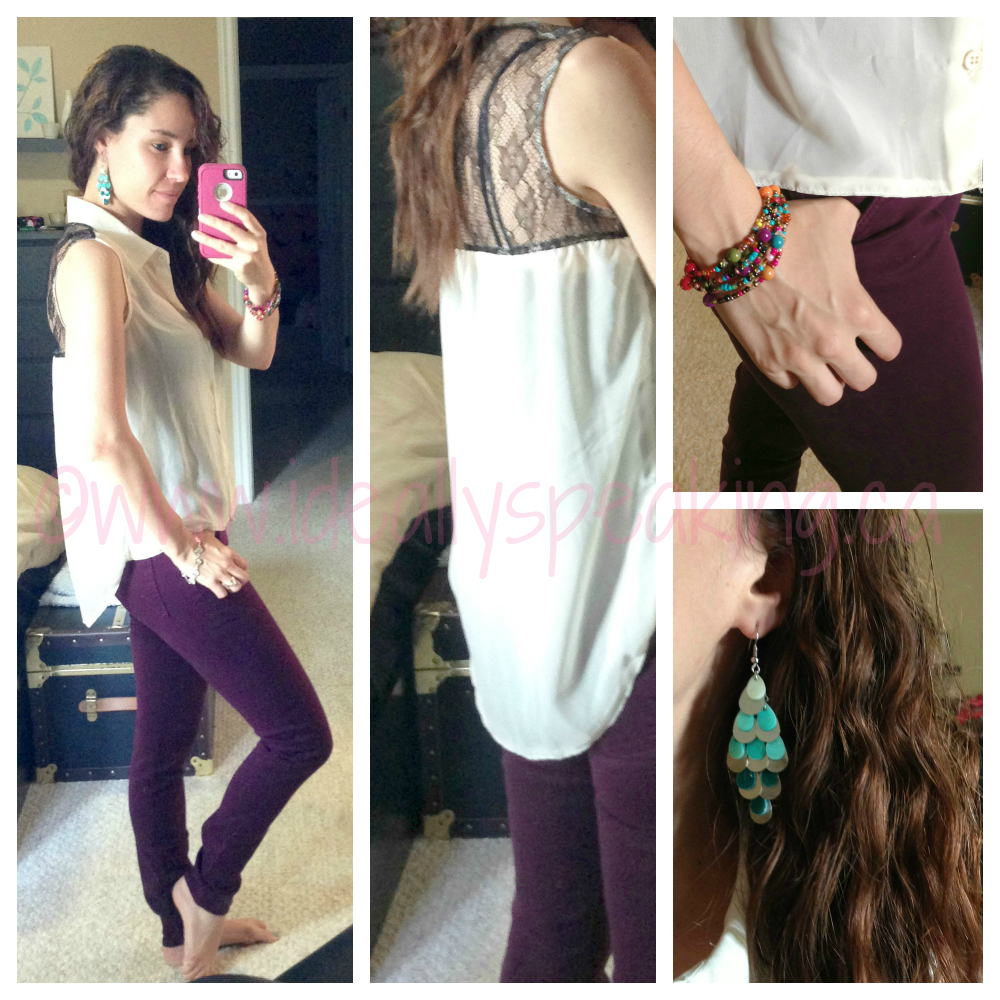 Cute! Purple skinny jeans & lace hi-low top.