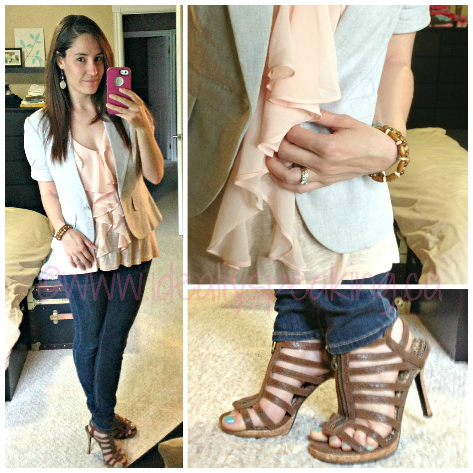 Cute summer look for office. Love these snakeskin caged heels!