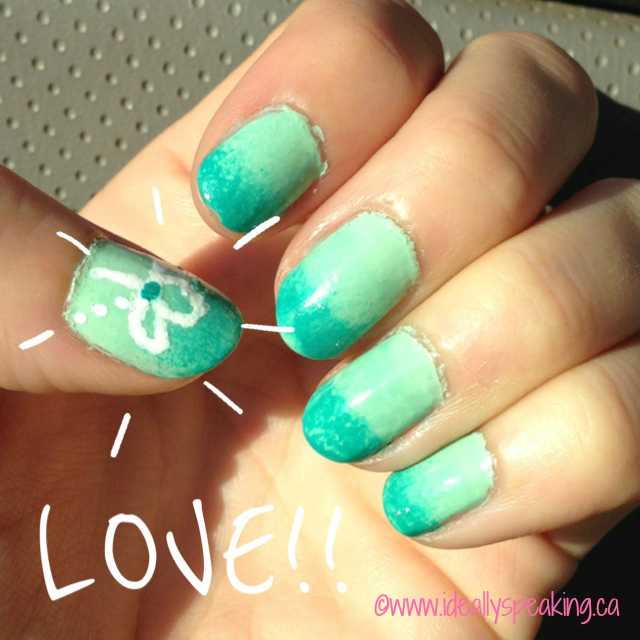DIY Turquoise Ombre Nails. Cute design added to thumb. So easy!
