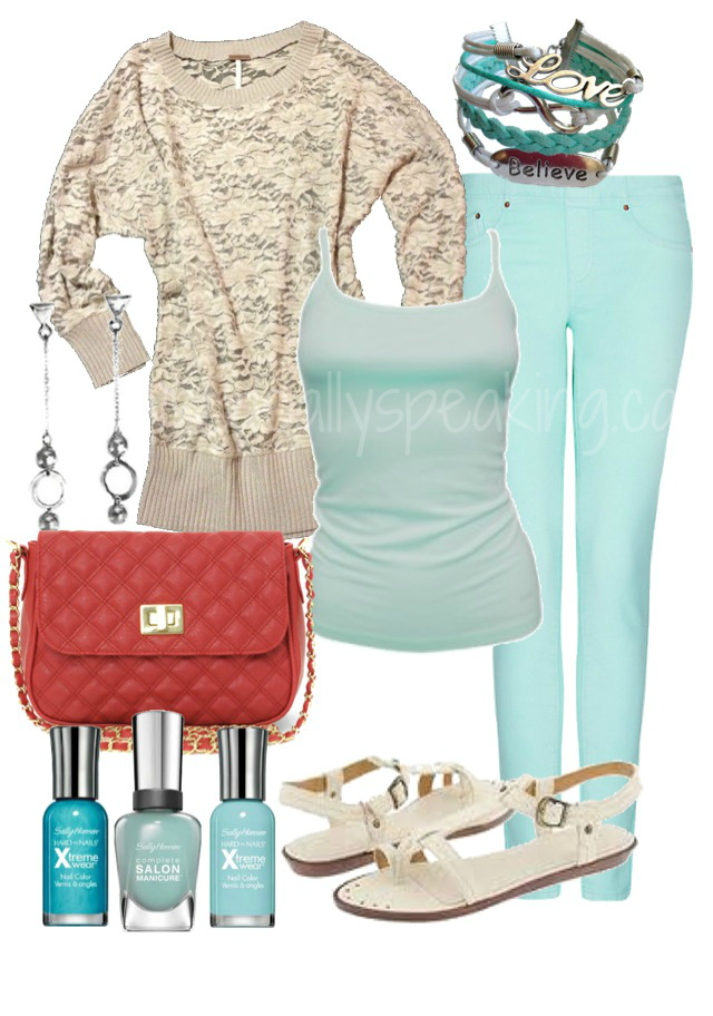 Adorable lace sweater, light blue skinny jeans & matching ombre nails. LOVE!