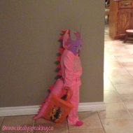 #WordlessWednesday with linky: Pink Dinosaur Halloween Costume