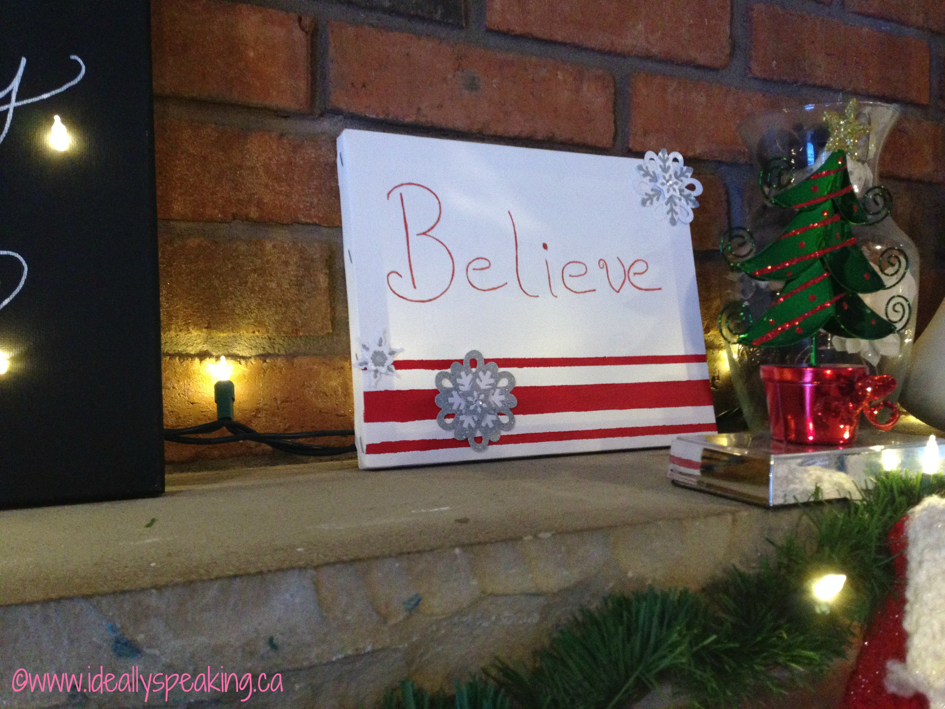 DIY Christmas Canvas Believe