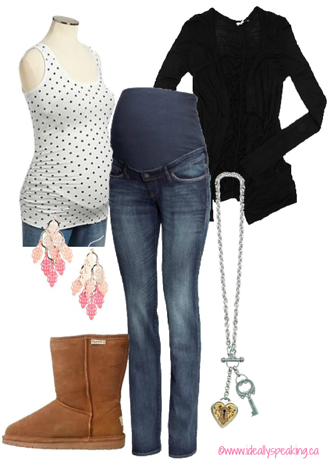 Cute maternity outfit. Skinny jeans & polka dot tank.