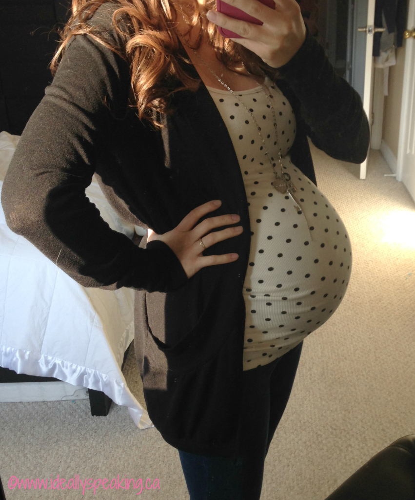 Super cute polka dot maternity tank top.