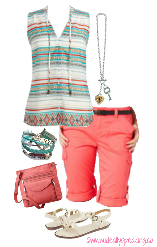 Adorable spring look wiht pops of coral and turquoise.