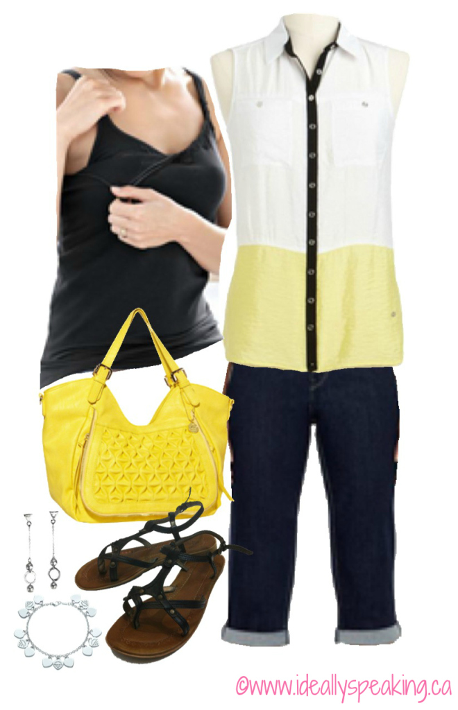 Cute black and yellow spring look.