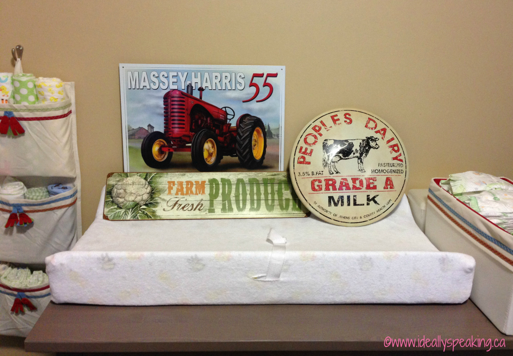 Vintage looking tin farm signs