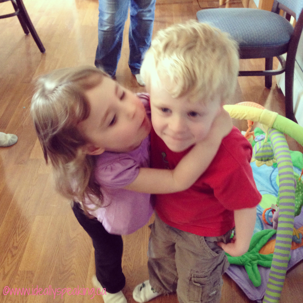 She adores her cousin! So cute.