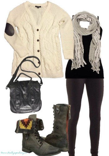 Cozy elbow patch cardigan & combat boots.