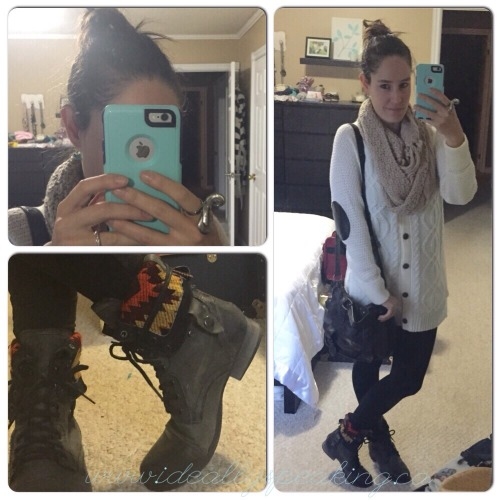 Combat boots, cozy elbow patch cardigan and leggings. Perfect look for fall.