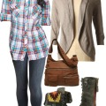 Cute plaid shirt, cardigan & combat boots.