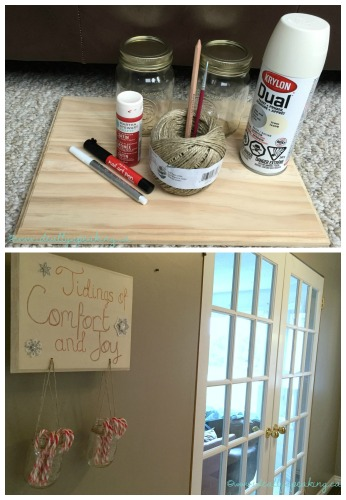 Cute and easy DIY Christmas candy holder with mason jars.