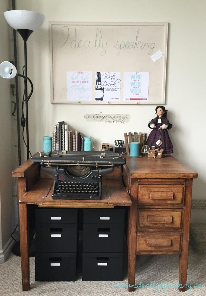 Desk full of writing inspiration