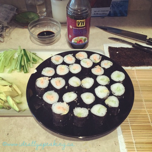 Making sushi at home.