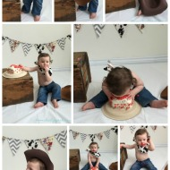 #WordlessWednesday: Colton turns one with a cowboy cake smash!