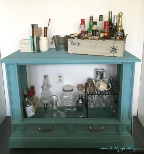 Turn an old TV into a DIY dry bar.
