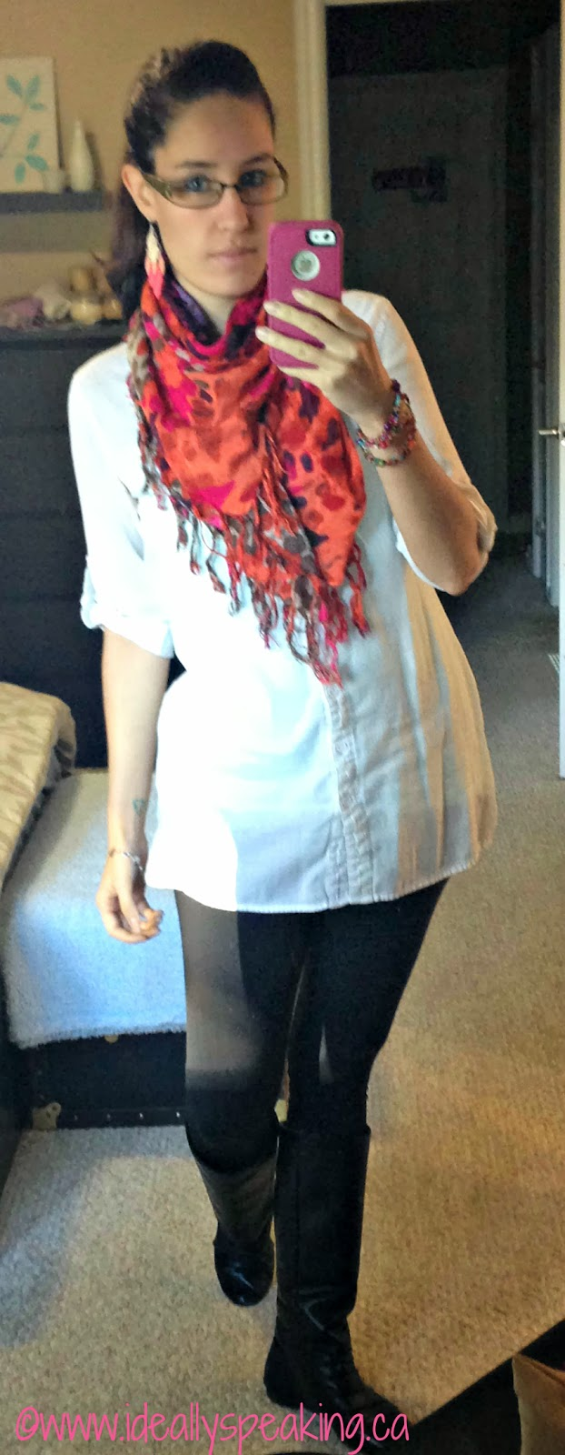 Long shirt, leggings, & scarf. Polished, yet comfy look for fall!