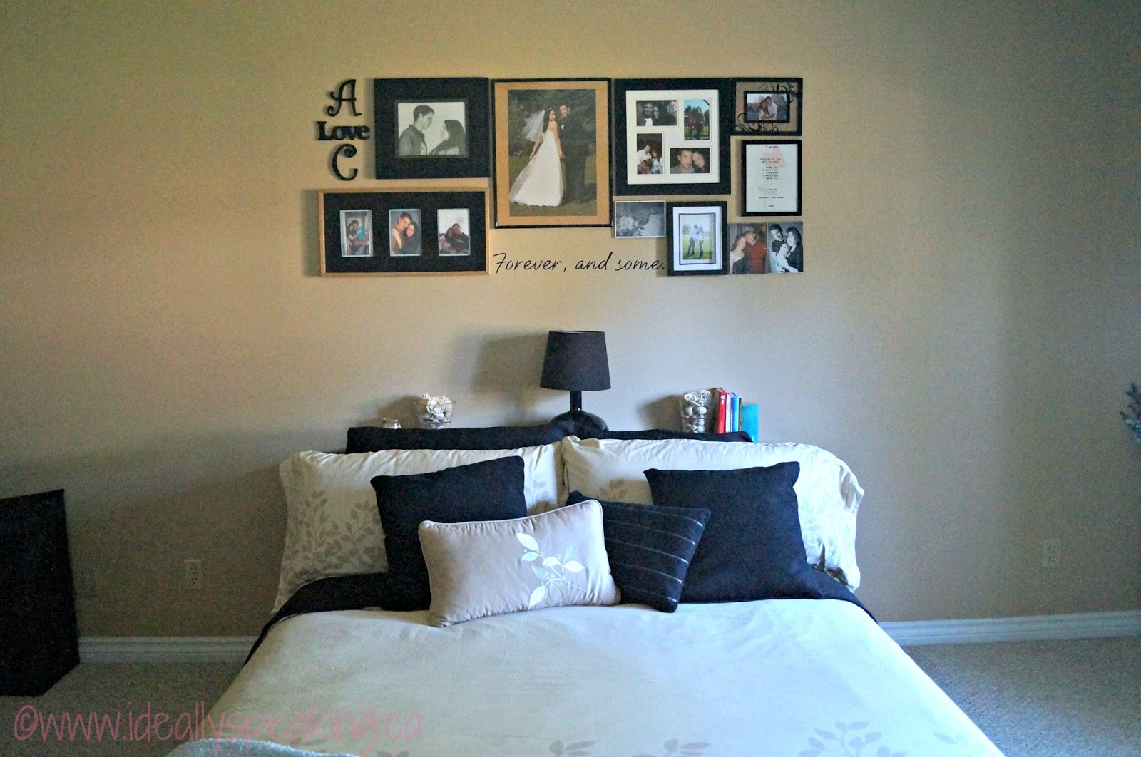 "Gallery wall above bed in master bedroom. Use pictures to tell ""story of us"""