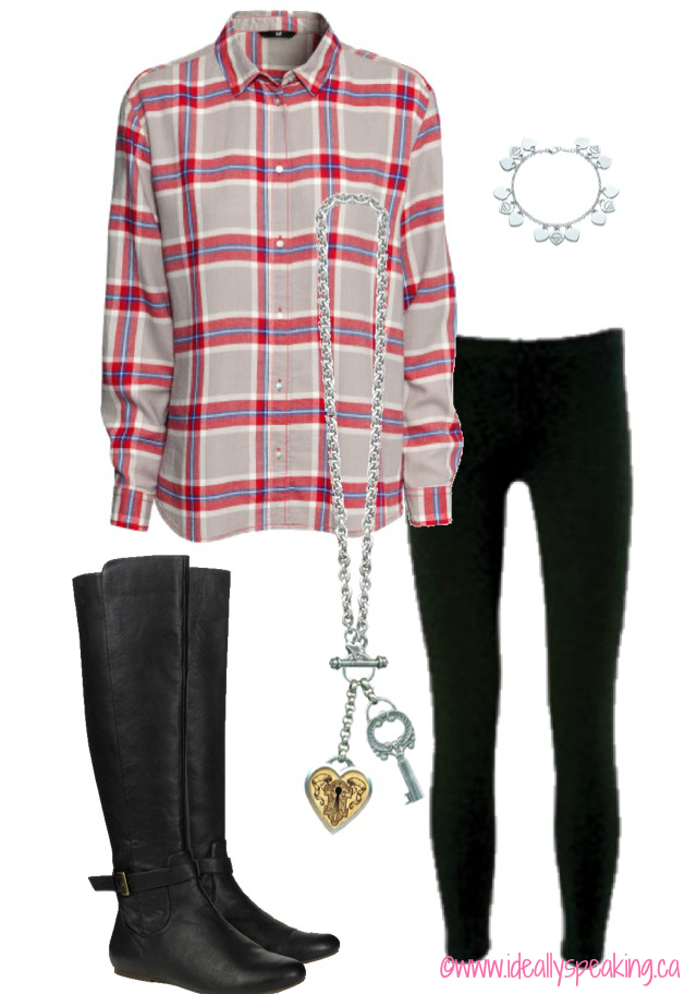 Oversized plaid flannel button up, leggings & boots. Perfect for fall!