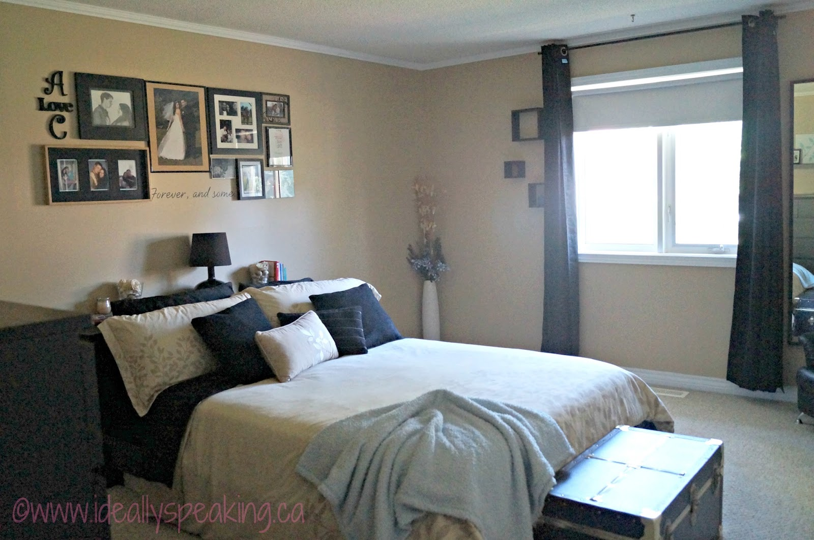 Nice warm master bedroom filled with tons of DIY decor projects.