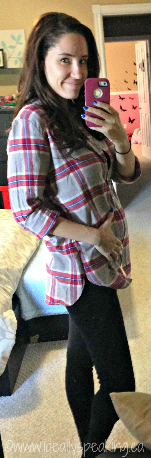 Oversized plaid shirt as a cute maternity top!