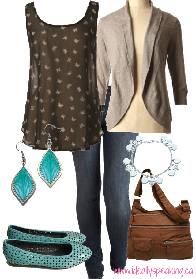 Butterfly print tank. Cute look for Fall!